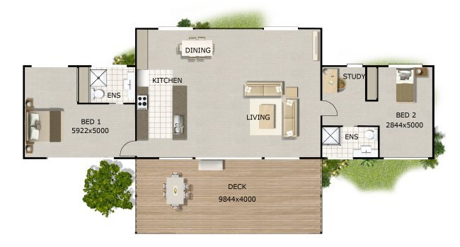 2 Bedroom Bathroom Timber Floor House Plan Australian Kit