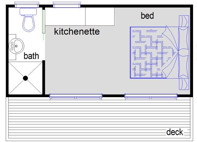 1 bedroom cabin style granny flat kit home design for Granny flat floor plans 1 bedroom
