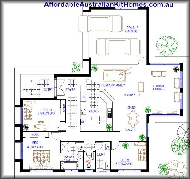 3 bedroom low set home open plan australian kit homes for Buy house plans australia