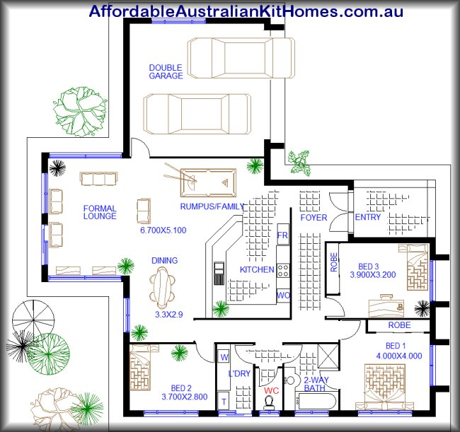 3 bedroom low set home open plan australian kit homes for House floor plans australia