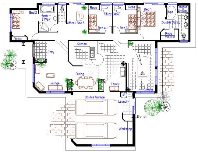 5 bedroom sloping land split level kit home design for Buy house plans australia
