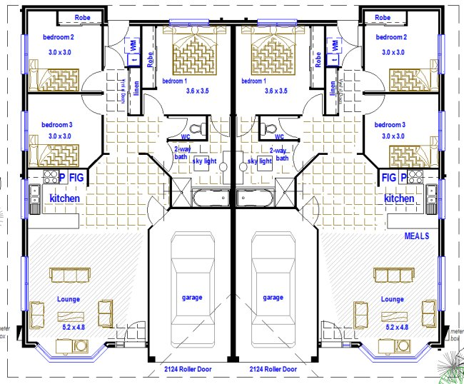 2 x 3 bedroom duplex design australian kit homes steel framed homes timber framed homes Small bathroom floor plans australia