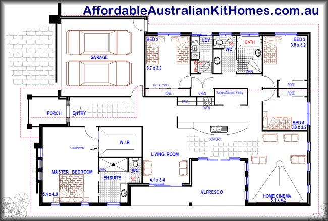 Open plan design 4 bedroom 1 storey home australian kit for Free australian house designs and floor plans