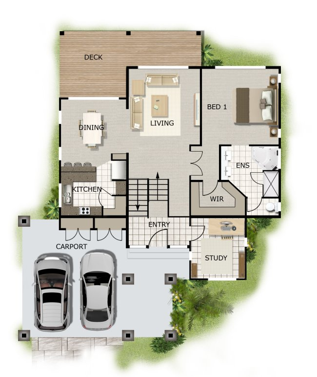 4 Bedroom + Study Sloping Land House Kit Home Design