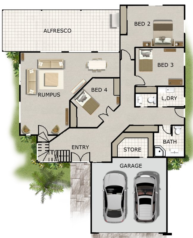 4 bedroom office rumpus rm kit home designs australian kit homes steel framed homes Small bathroom floor plans australia