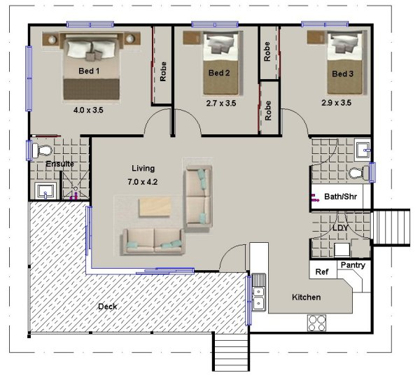 3 Bed Room House Plan: 112 Skippy - On Timber Floor Granny Flats ...