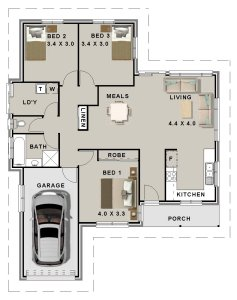 Story book house plan no 126clm 3 bed 1 bath garage total area 126m2 3 bed story book for 3 bedroom floor plan with dimensions pdf