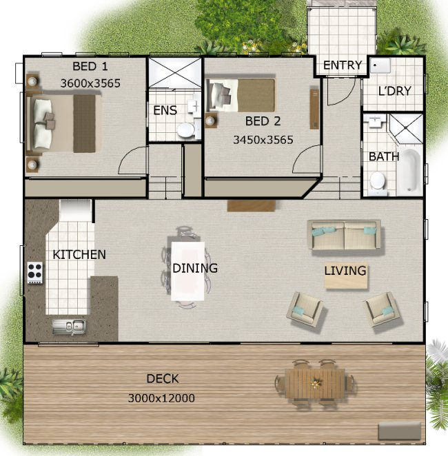 Australian 2 bedroom small house plan 2 bedroom cottage for 3 bedroom granny flat designs