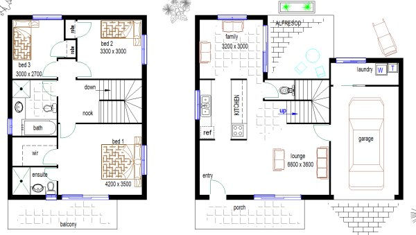 Free duplex townhouse house plan duplex plans house for Free australian house designs and floor plans