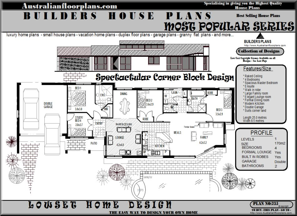 Corner block home designs over 5000 house plans for Corner block home designs