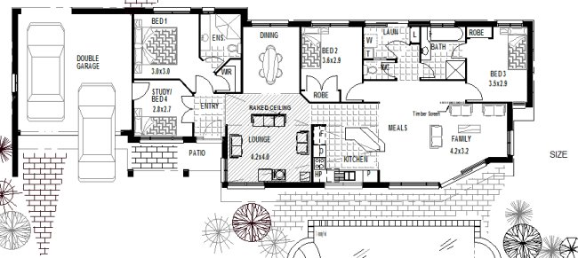Corner block home plans houses includes some of the most for Narrow lot 4 bedroom house plans