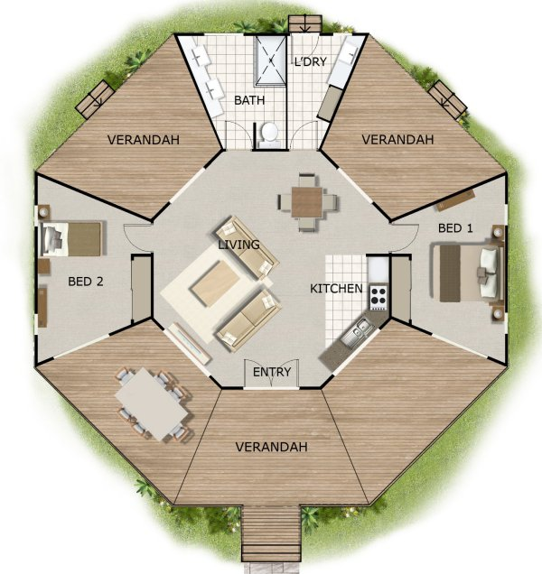 Free house plan 2 bedroom 2 bed house design house for Round home plans