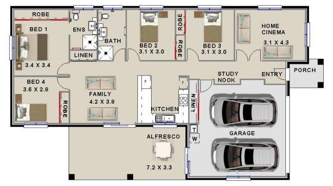 Narrow Lot 4 Bedroom Study House Plan Narrow Lot House