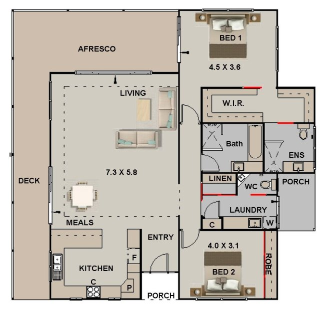 2 bed house plans front modern