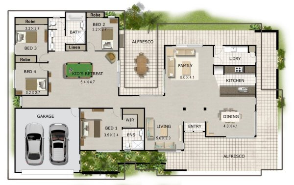 New acreage house plans australian corner block house for Acreage homes floor plans