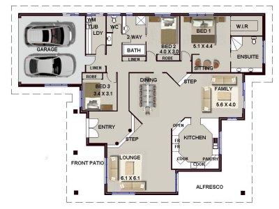 big australian house plans.  big 3 bedroom house plan Bed Single Storey House Plan No 208 4 Sunken Lounge