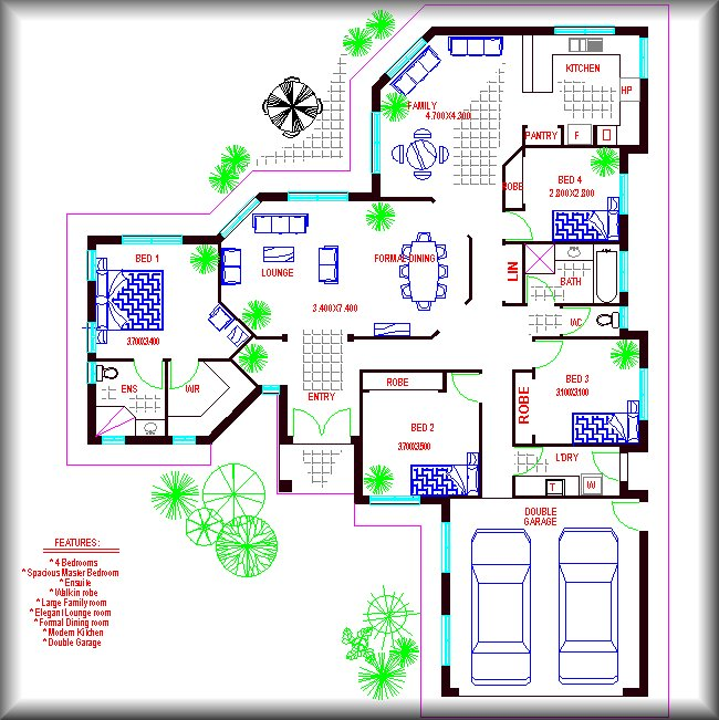 4 bed room formal dining family house plan australian for Family house plans