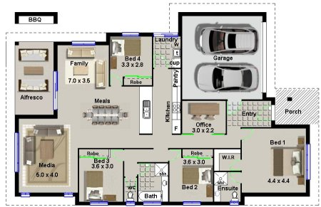 House Plan No 220:MODERN 4 BEDROOM HOUSE PLAN |4 bed Modern Style ...