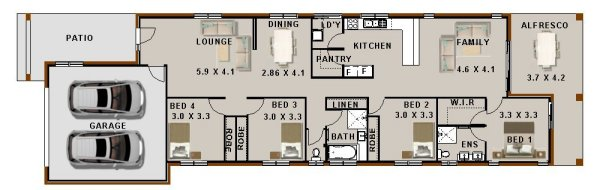 Modern Narrow  lot zero lot house plan