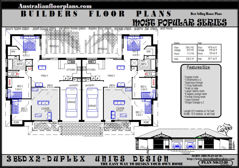 Duplex units floor plans house designs 3 bedroom sale for 3 bedroom unit floor plans