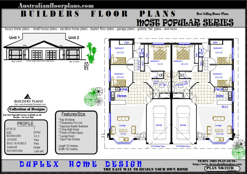 Duplex Design Units House Floor Plans Real Estate Plan 2 X