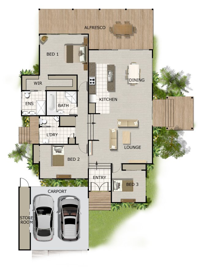 3 bed room sloping land house plan for Home and land design