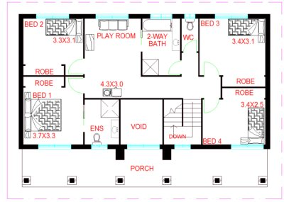 3  bed -study upper floor