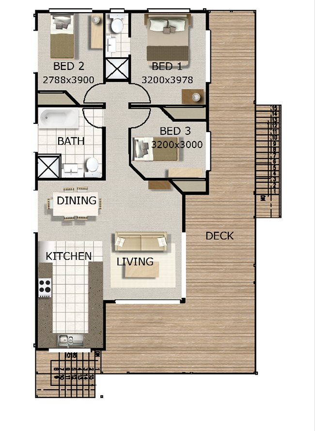 Australian 3 bedroom 2 storey beach style home floor plan for 2 bedroom house plans australia