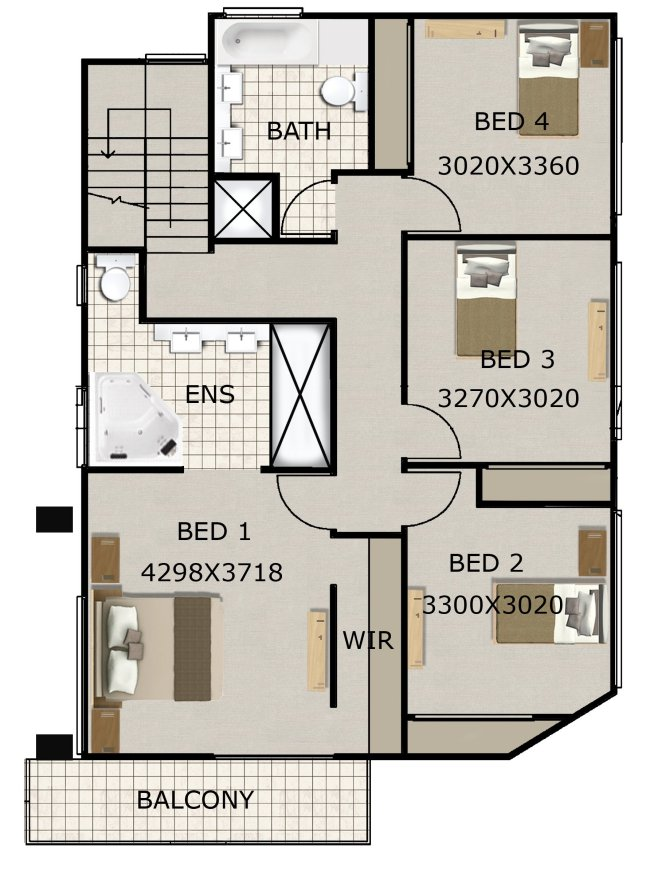 4 bed room house plan modern style 2 storey floor plan for Study bed plans