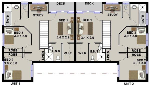 Australian new townhouse design plans 3 study blueprints for Cheap duplex plans