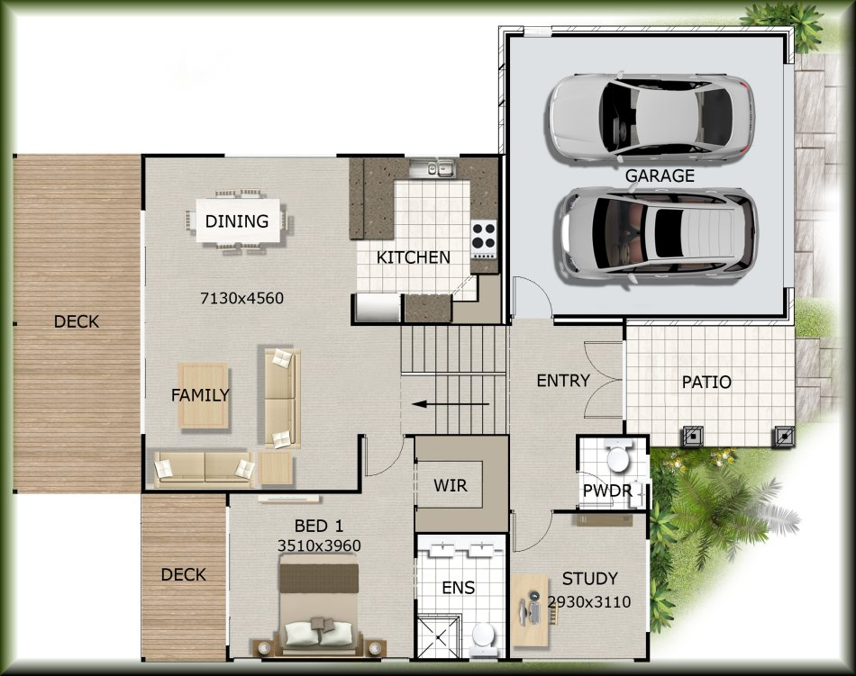 Floor plan Sloping site house designs