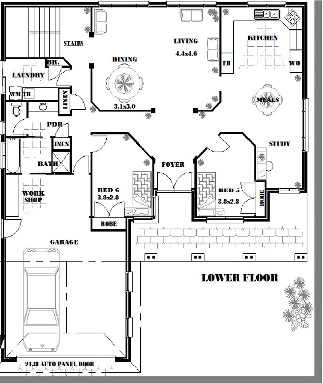 6 bed room study house plan for Study bed plans