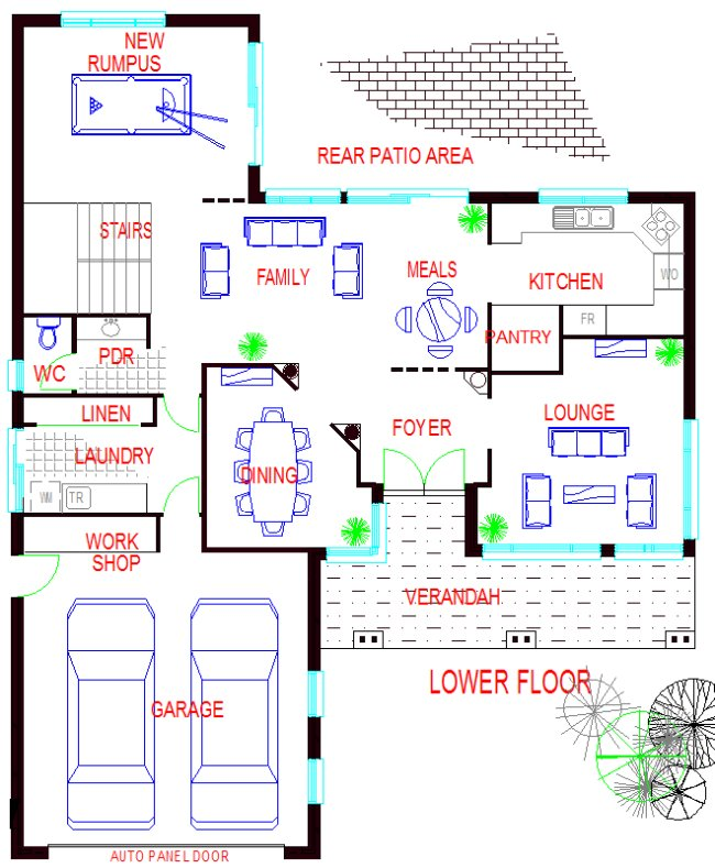 lower floor Two Storey 4 Bed Room House Plan
