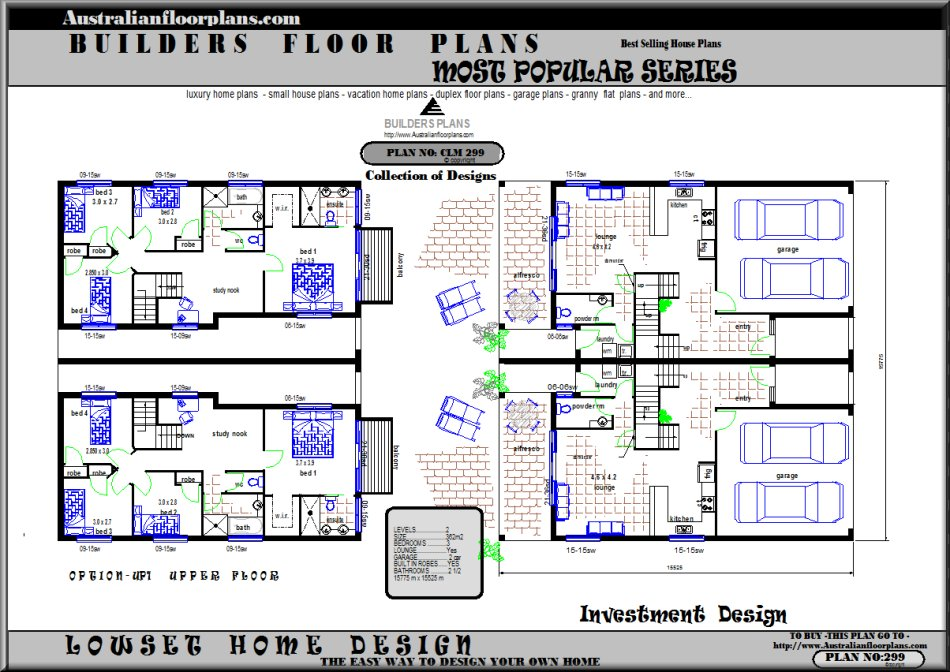 Duplex, Town House and Row House Plans, Blueprints & Home Design