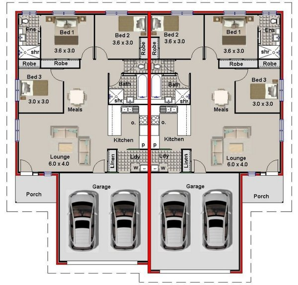 2 Car Garage Duplex Plans