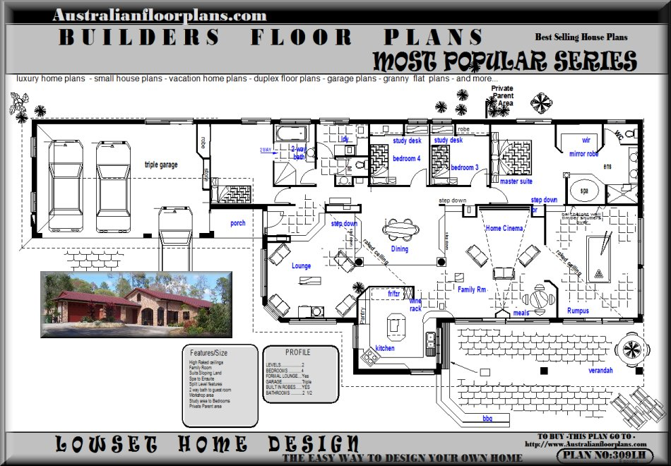 Blueprints acreage house home floor plans australian house for House floor plans australia