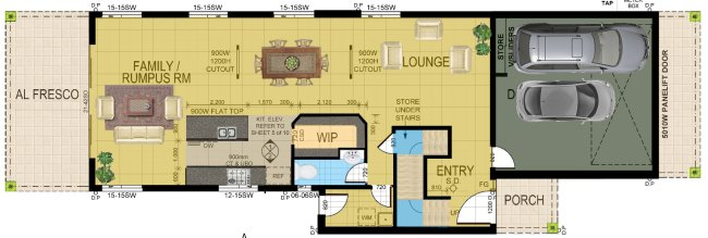 Narrow 4 Bed Room House Plan lower floor