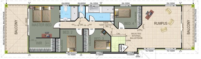 upper floorNarrow 4 Bed Room House Plan