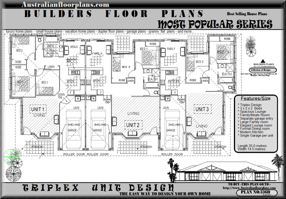 Triple House Plans and Triplex Home Floor Plans | Duplex house