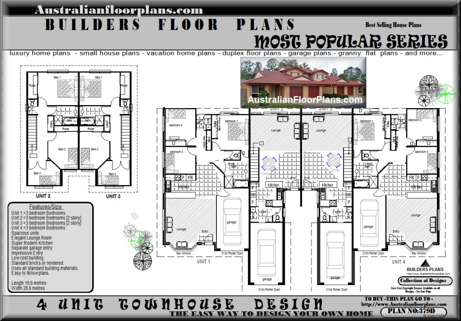 4 unit townhouse design house plans australian for 3 bedroom unit floor plans