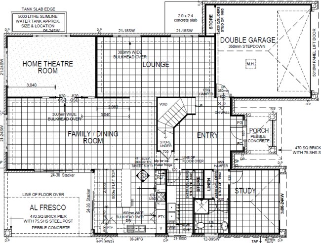 lower floor 4 Bed Room + Home Theatre Plan