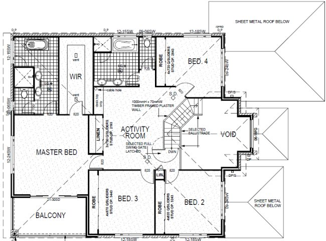 4 Bed Room + Home Theatre Plan upper floor