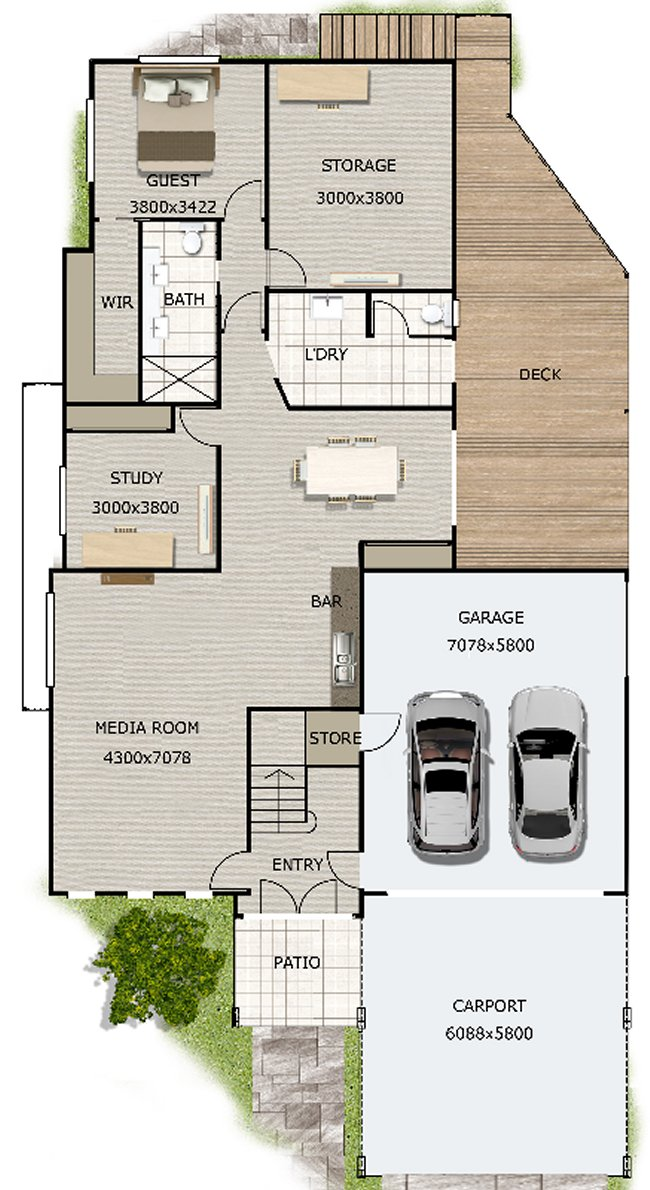 5 Bed Room + 2 Study Rooms House Plan