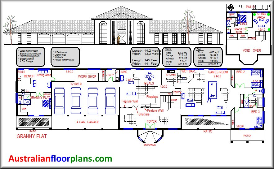 Australian dream home design 4 bed room house plan with for Acreage homes floor plans