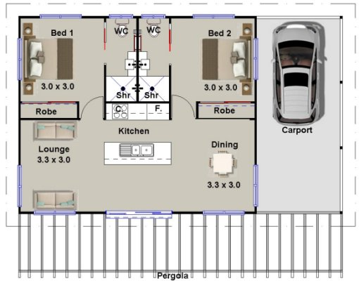 2 bed 2 bath carport house floor plan 2 bedroom granny flat style house plan 2 bedroom Small bathroom floor plans australia