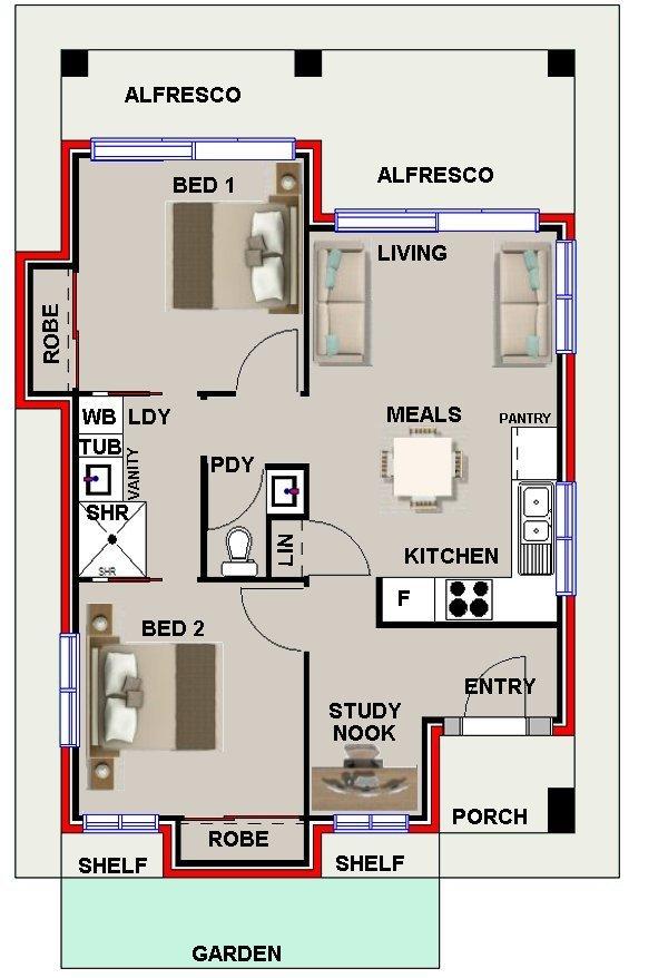 Australian 2 bedrooms plus study nook granny flat 60sbhe for Granny flat floor plans 2 bedrooms