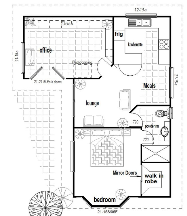 Australian 1 or 2 bedroom granny flat with office new design for Granny cottage plans