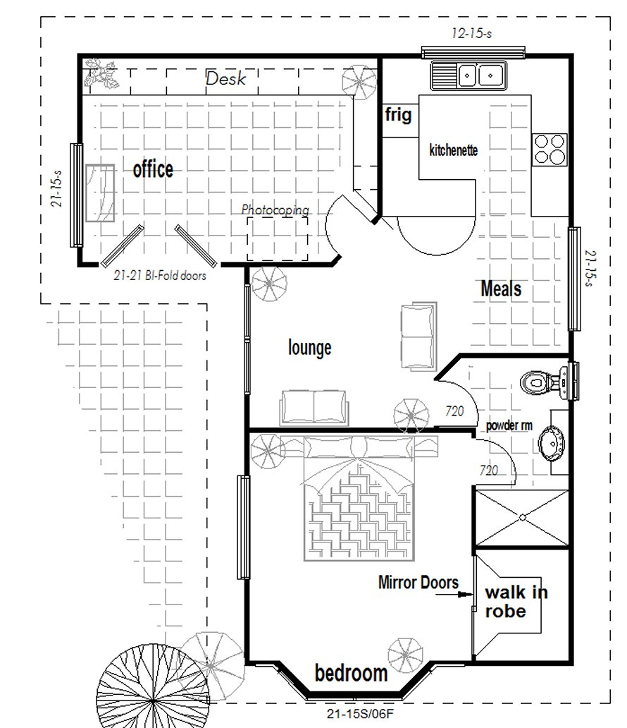 Australian 1 or 2 bedroom granny flat with office new design for Granny flats floor plans