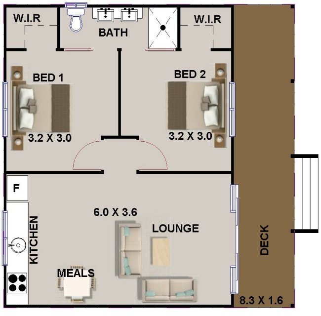 2 bed room small house plan or granny flat australian for 2 bedroom house plans australia