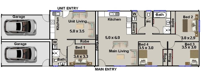 Dual key floor plans design narrow lot design